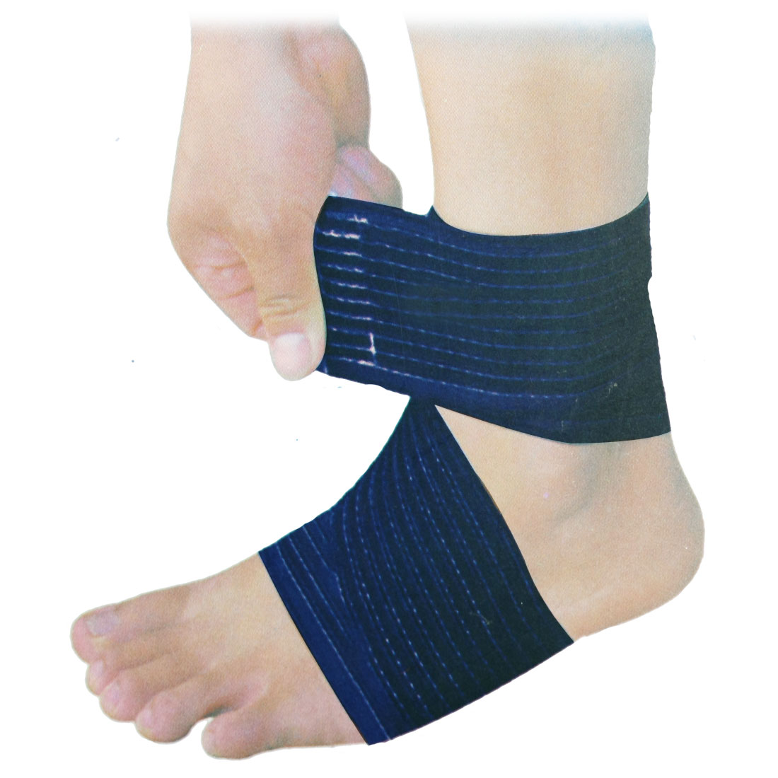 2 Pcs Sports Dark Blue Stripe Pattern Elastic Ankle Support Wrap Brace