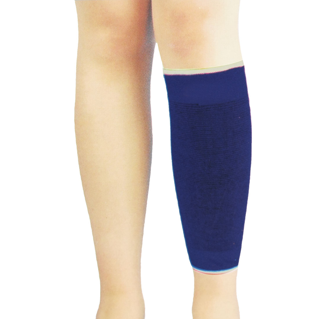 Pair Sports Protecting Striped Elastic Shin Calf Support Sleeve Blue Black