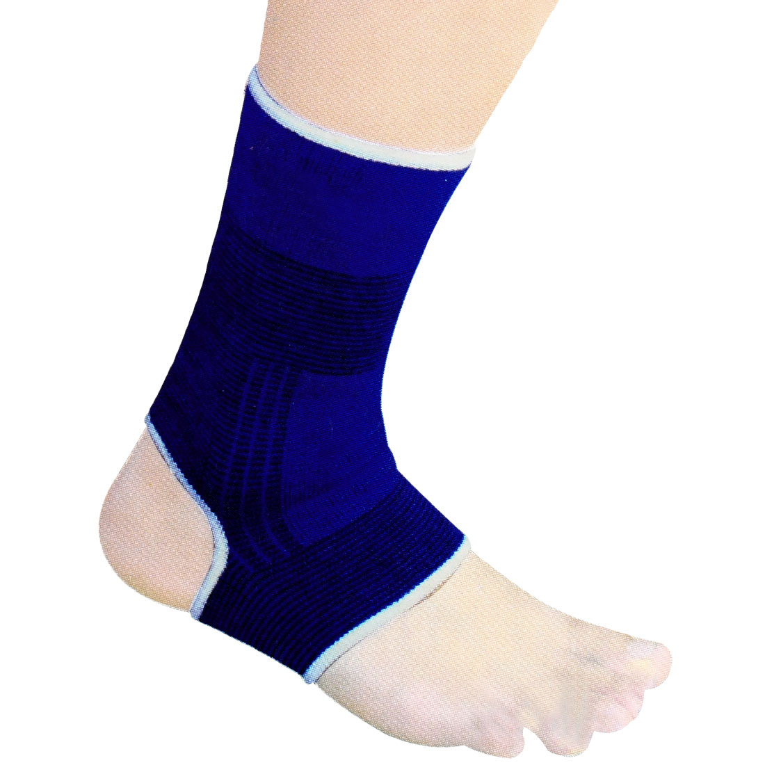 Pair Sports Black Dark Blue Striped Open Heel Elastic Ankle Support Sleeve