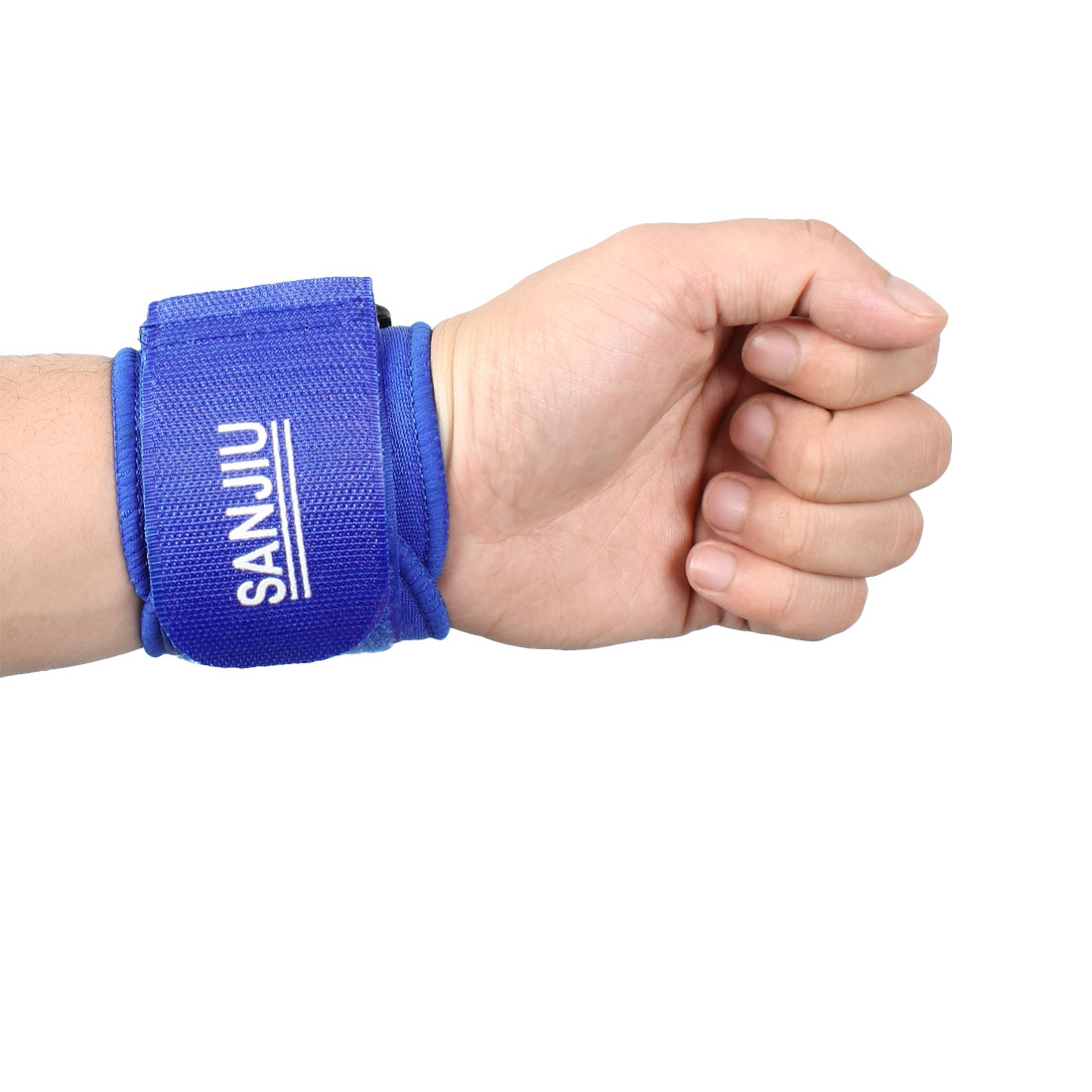 Sports Adjustable Detachable Fastener Neoprene Wrist Support Protector Blue