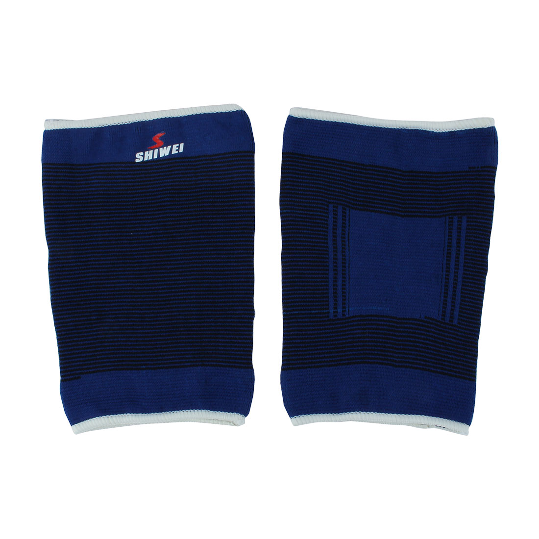 Pair Sports Protection Striped Elastic Thigh Leg Support Sleeve Blue Black