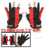 Pair Red Black Antislip Dotted Palm 3 Fingerless Fishing Sports Gloves