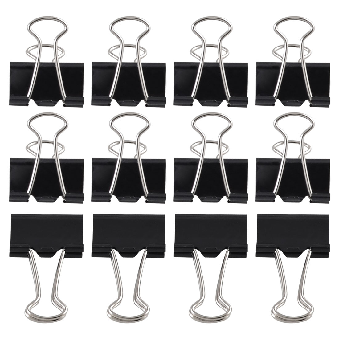 12 Pcs Office Files Documents Metal Black Binder Clips 25mm Width