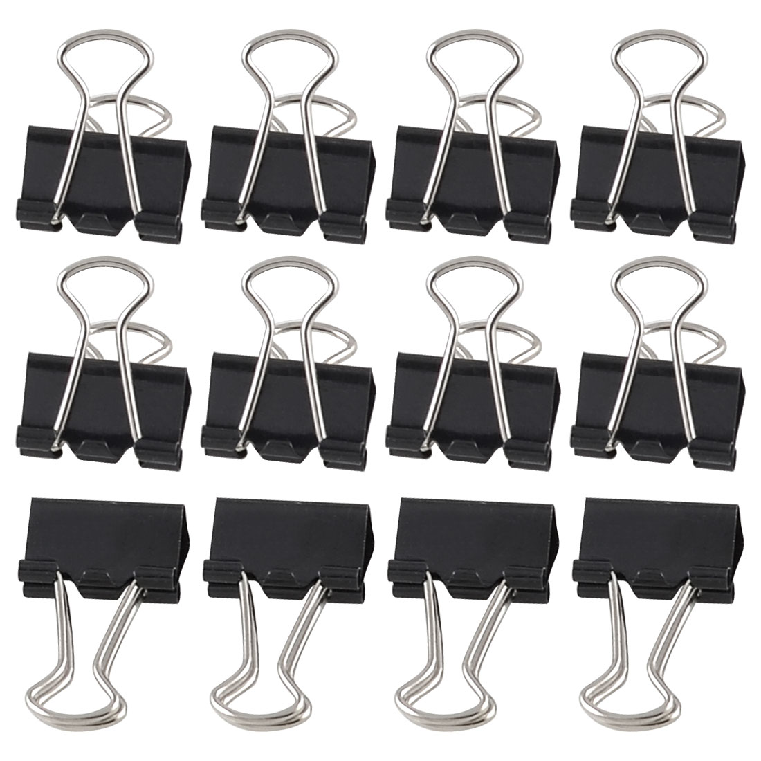 12 Pcs Stationery Papers File Organizer Metal Black Binder Clips 15mm Width