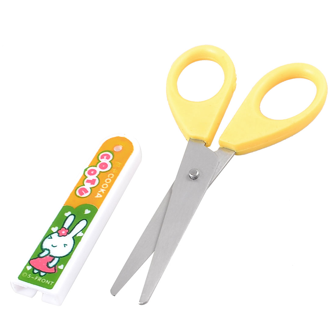 "Students Paper Cutting Yellow Plastic Handgrip Scissors 4.1"" Length w Cover"
