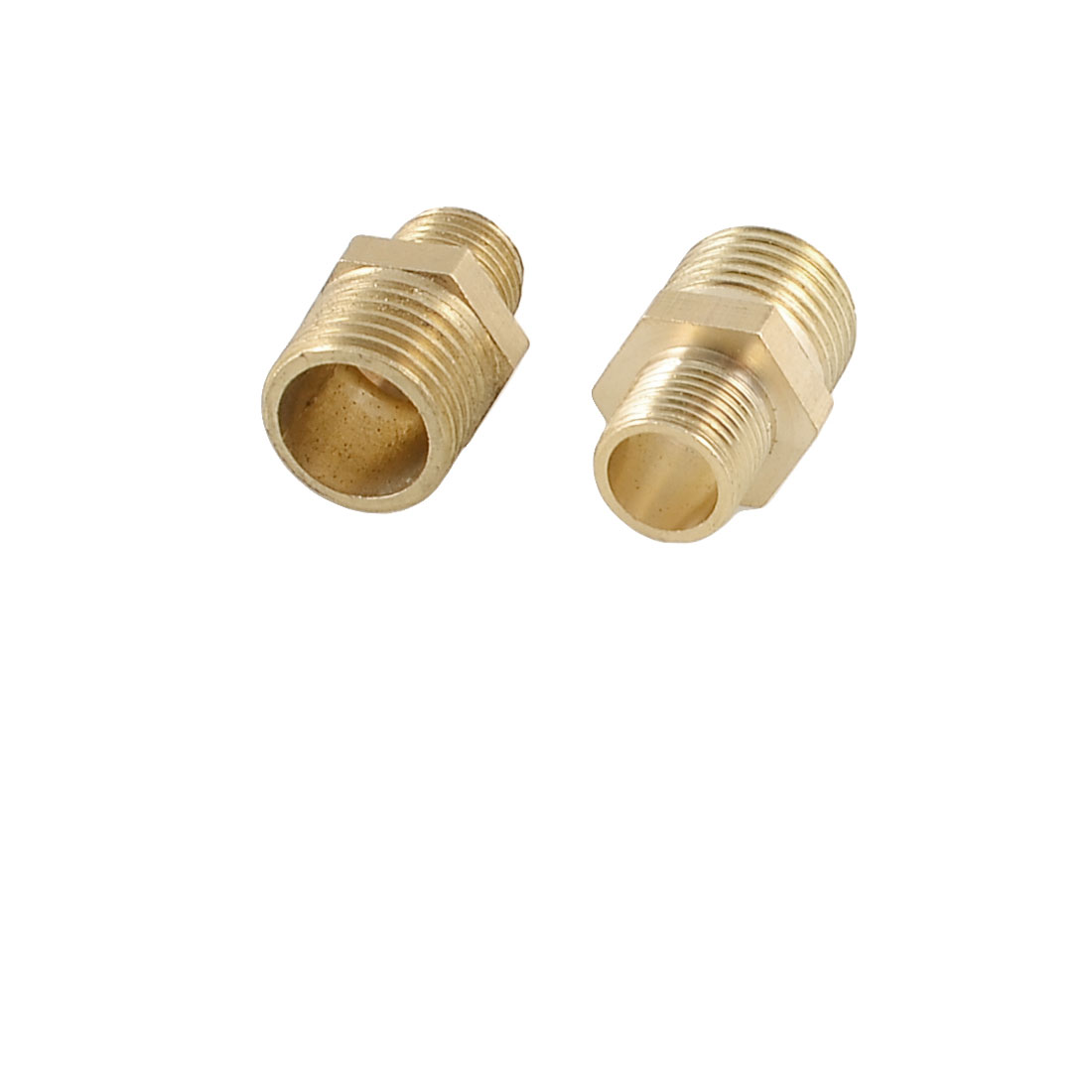 2 Pcs Air Pneumatic Pipe 12.5mm to 9mm M/M Brass Hex Reducing Nipple Coupler Fittings