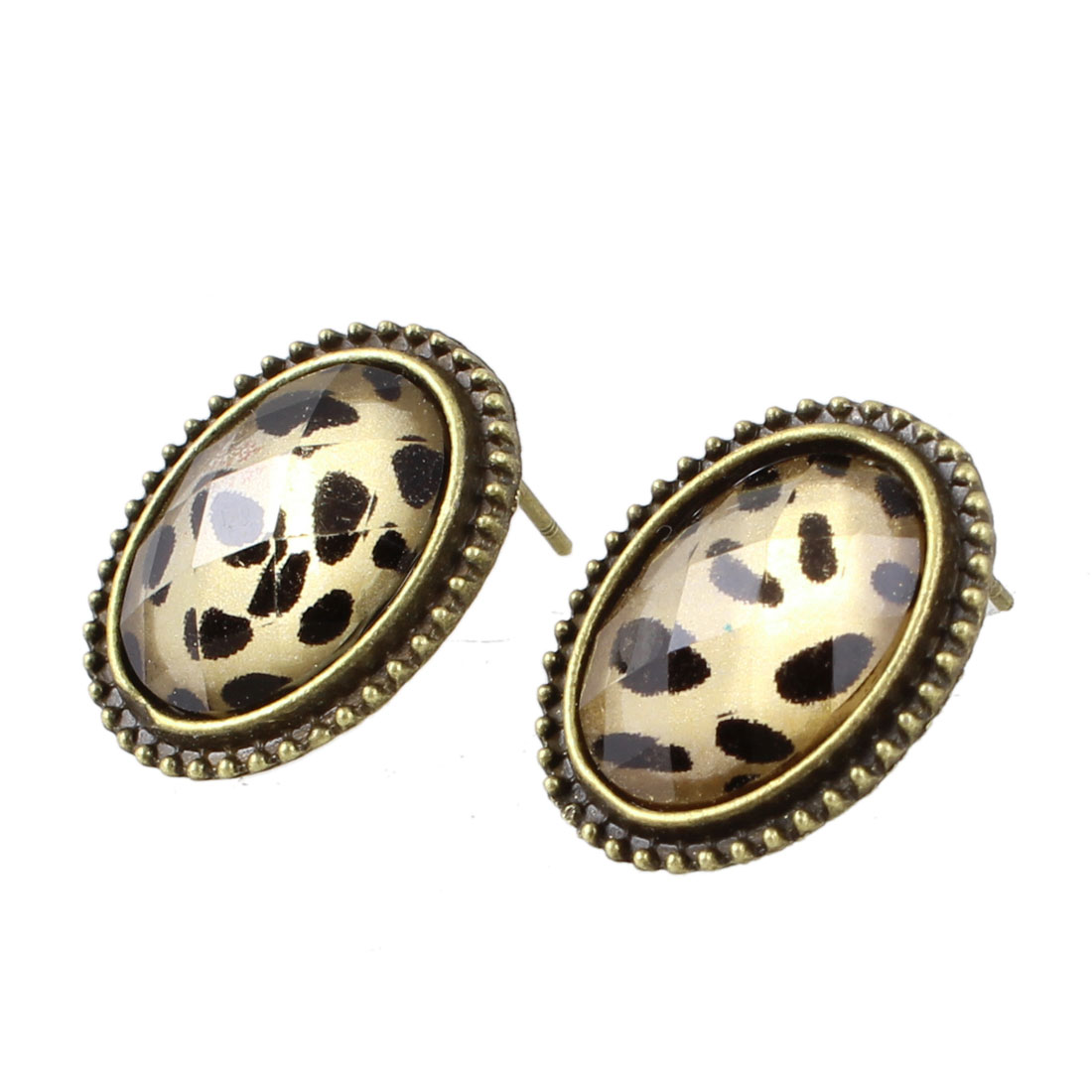 Pair Plastic Crystal Decor Oval Shape Earrings Ornament for Women