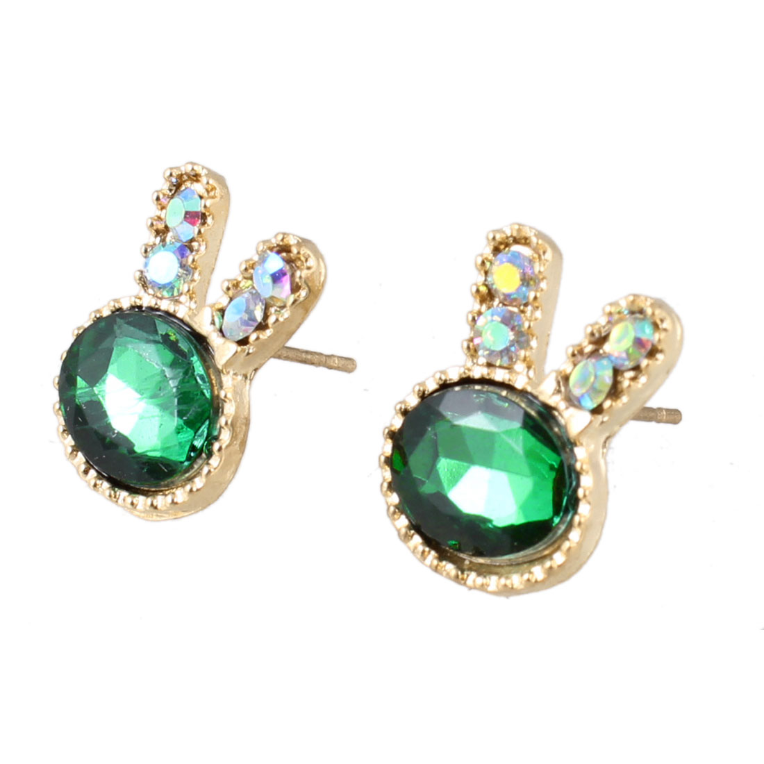 Pair Dark Green Faux Crystal Decor Earrings Ornament for Ladies