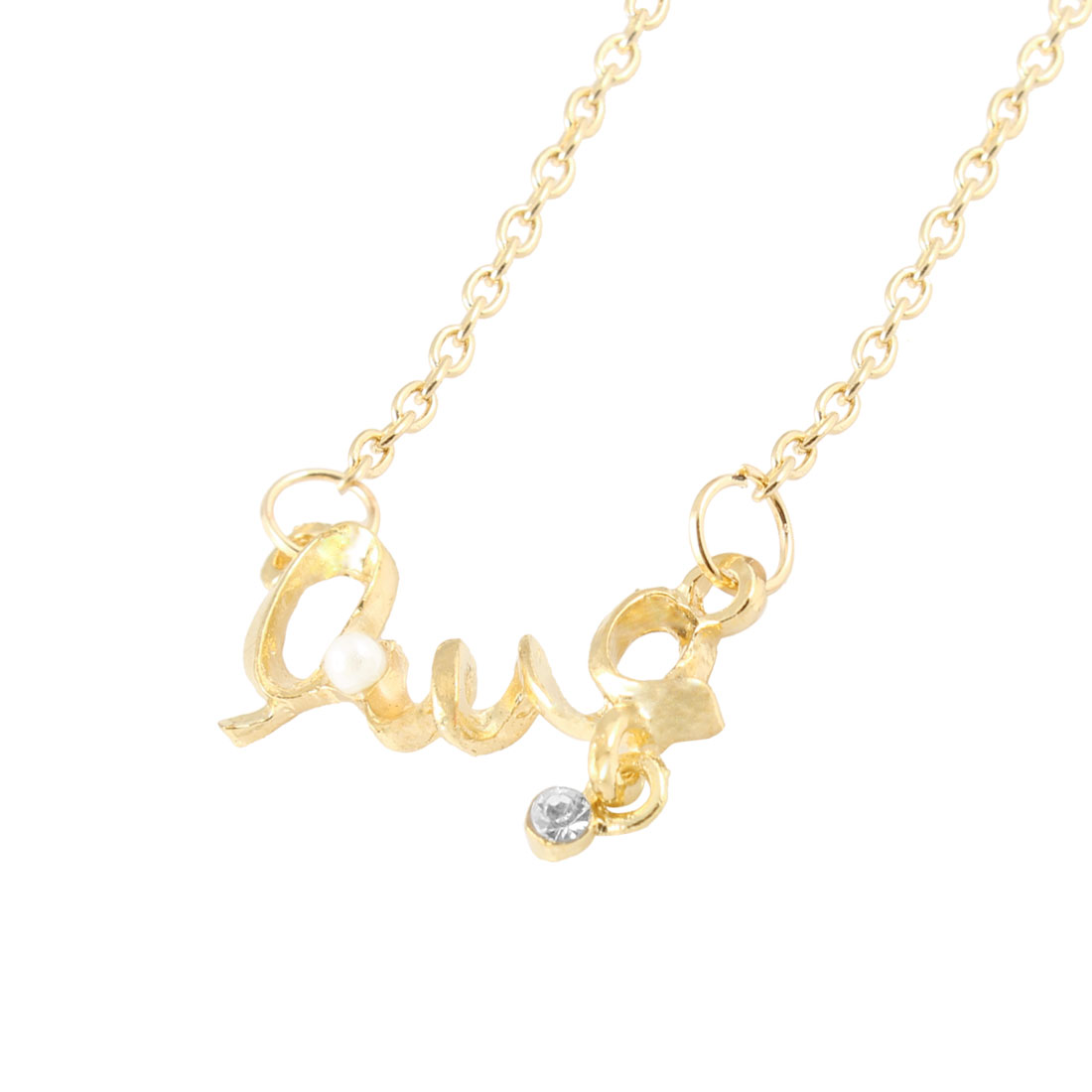 Gold Tone Letter Love Shaped Pendant Necklace Ornament for Women