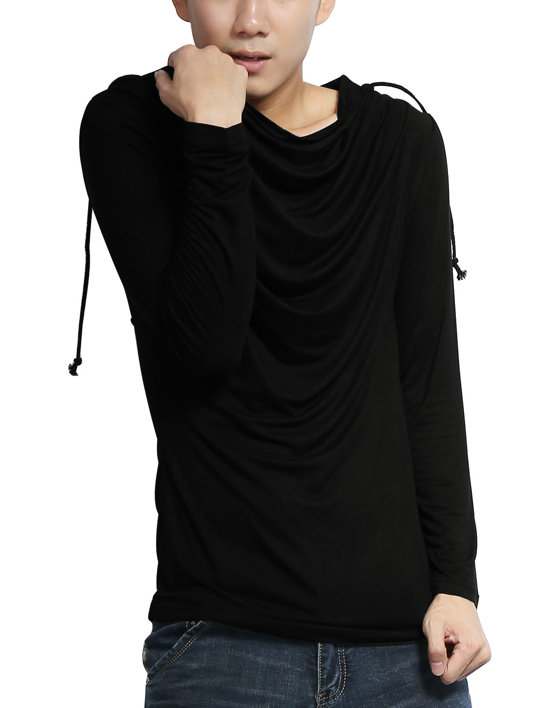Men Stylish Black Cowl Neck Stretchy Simple Style Leisure Hooded Shirt M
