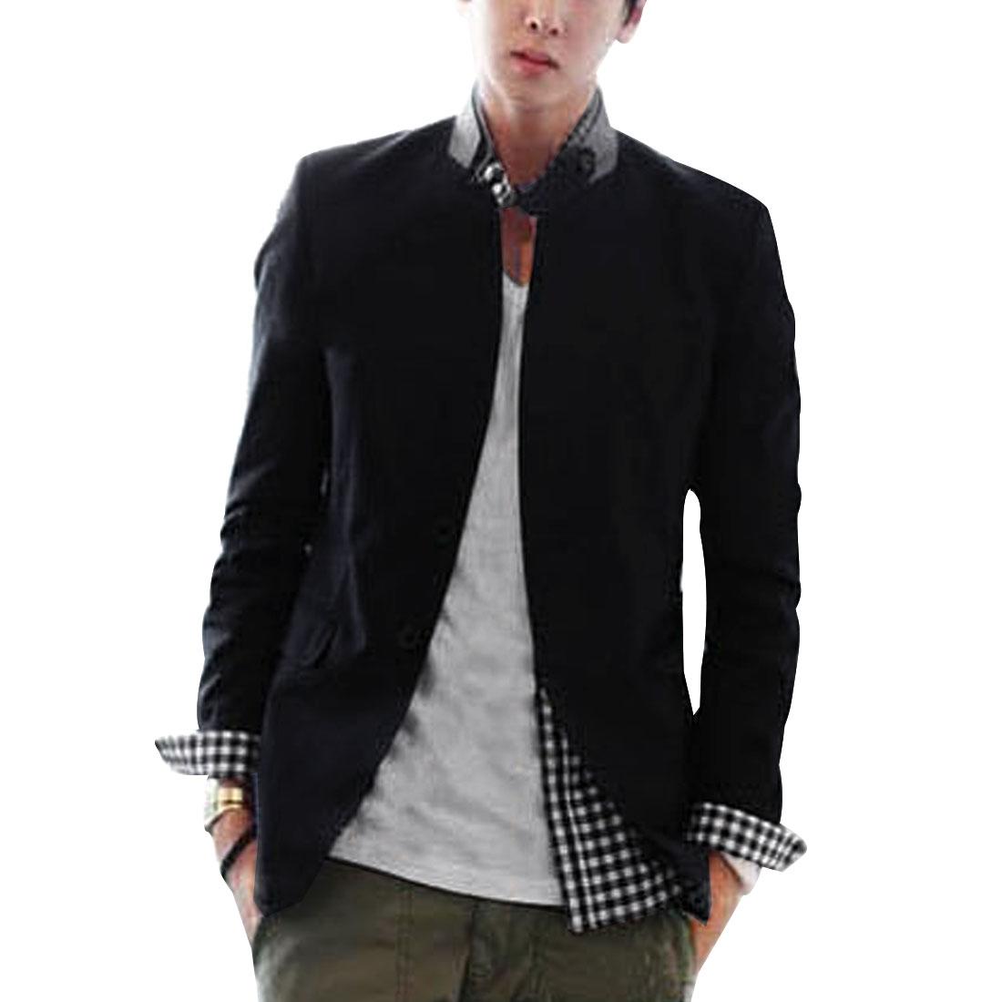 Mens Layers Stand Collar Belt Decor Long Sleeve Button Down Dark Blue Blazer M