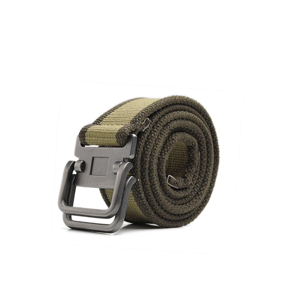 Sealed Tip Slide Metal Buckle Army Green Sturdy Canvas Waistbelt For Mens