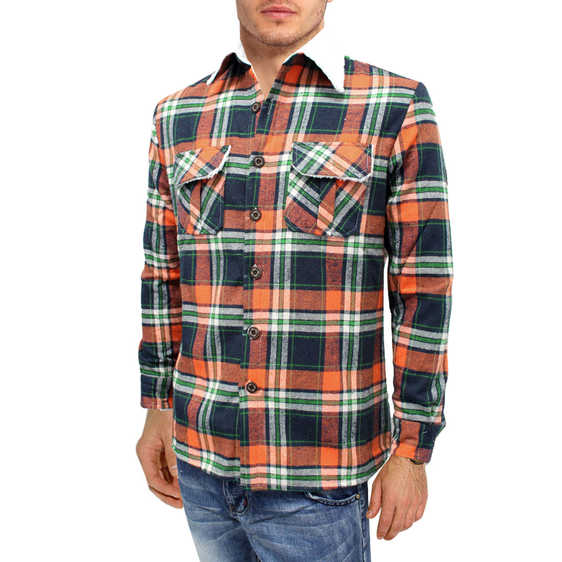 Mens Orange Green Plaids Button Down Long Sleeve Two Pocket Thick Fleece Top L