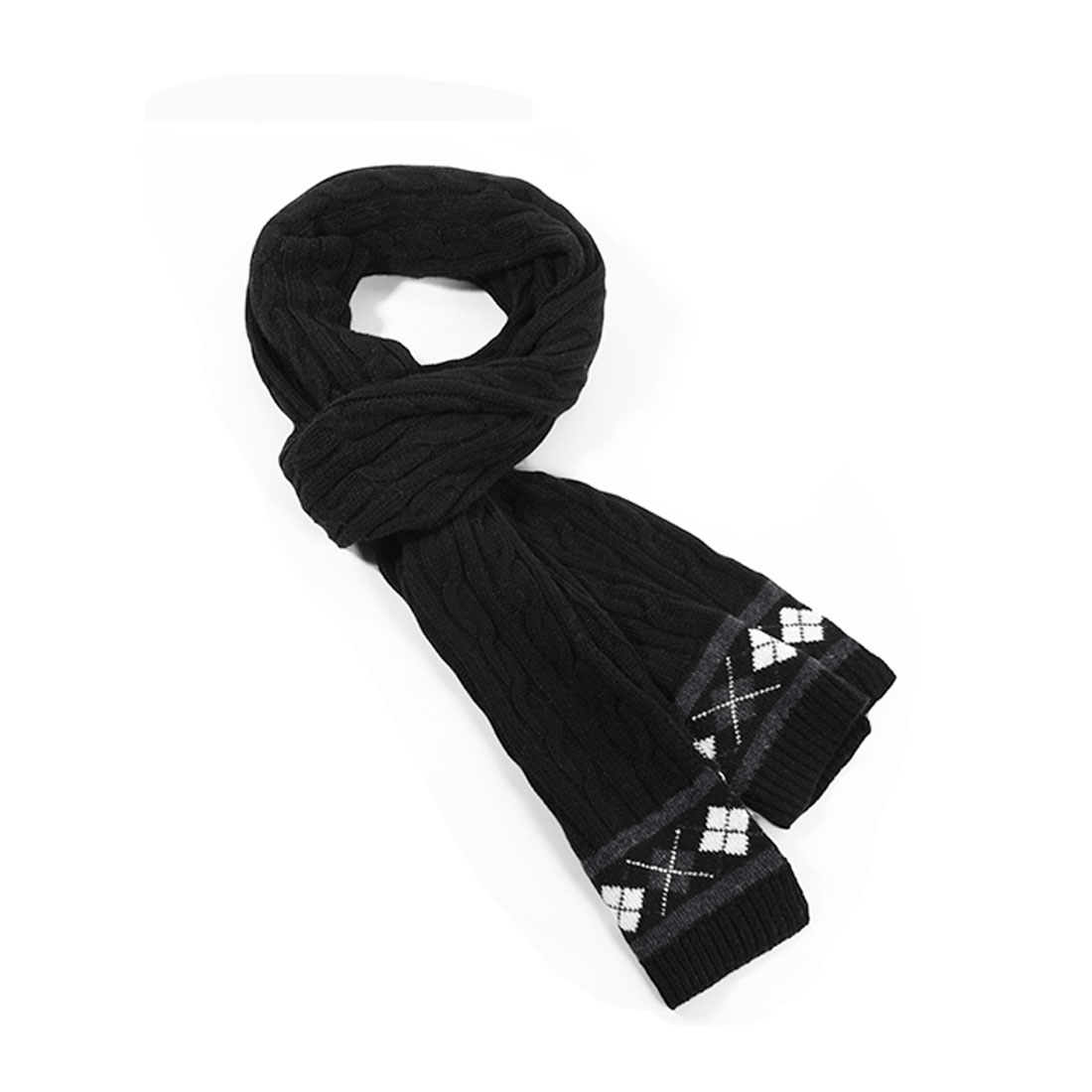Winter New Fashion Textured Stretch Argyle Pattern Black Scarf For Mens
