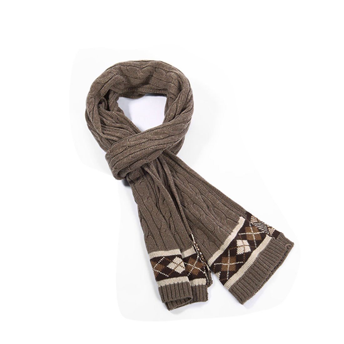 Mens Coffee Color Contrast Argyle Pattern Cable Knit Textured Scarf