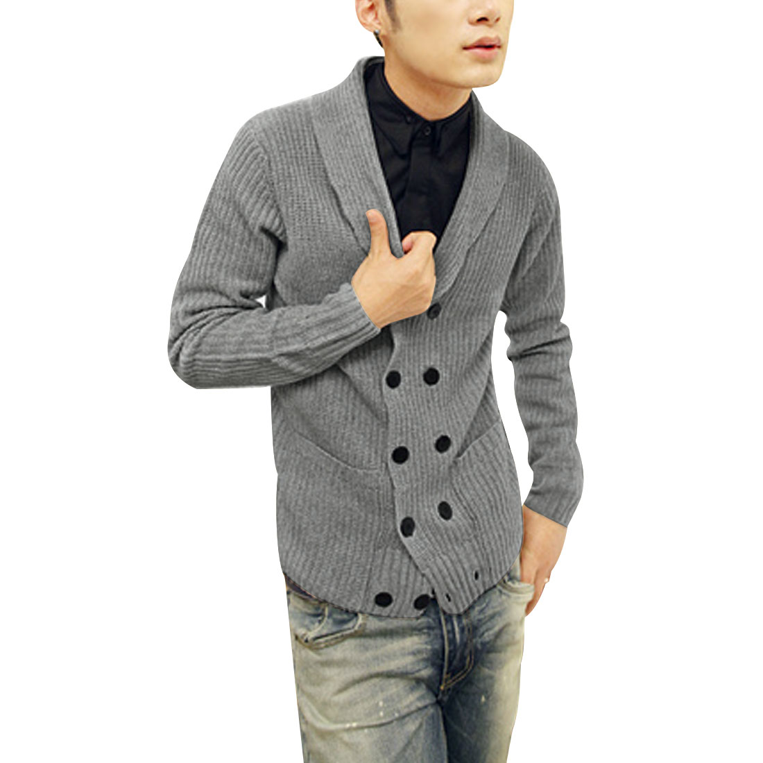 Men Stylish Gray Shawl Collar Long SLeeve Double Breasted Two Pockets Front Sweater S