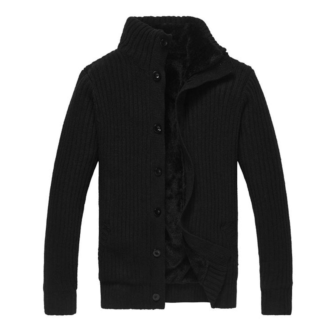 Men Black Button Closure Front Decorative Pockets Front Textured Winter Cozy Sweate L