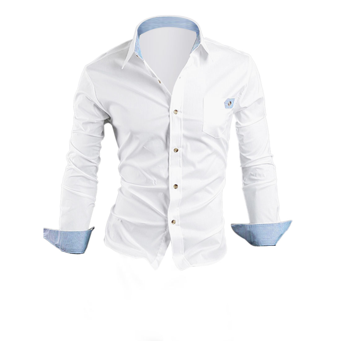 Long Sleeve Button Down One Pocket Round Hem White Shirt Tops For Men M