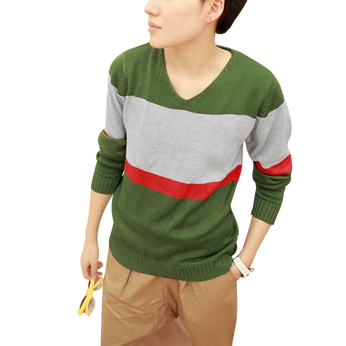 Men Olive Green Stylish Long Sleeve Pullover Design V-neck Casual Sweater S