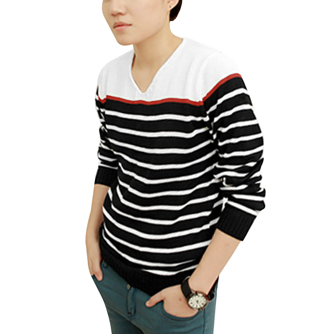 Men Texture V Neck Contrast Color Black White Stripe Long Sleeve Knit Shirt S