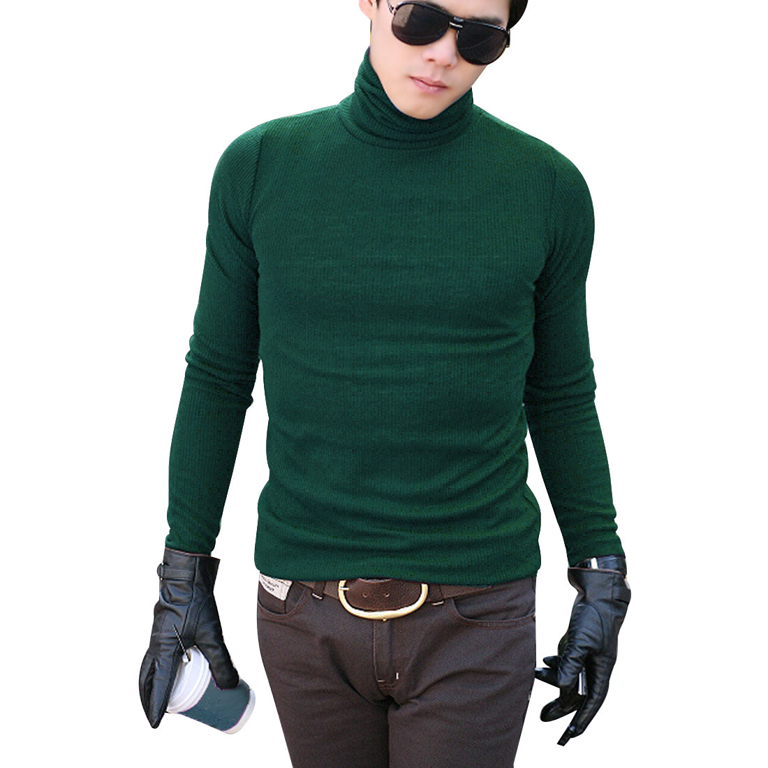 Men Green Stretchy Pullover Design Long SLeeve Easy Matching Leisure Shirt S
