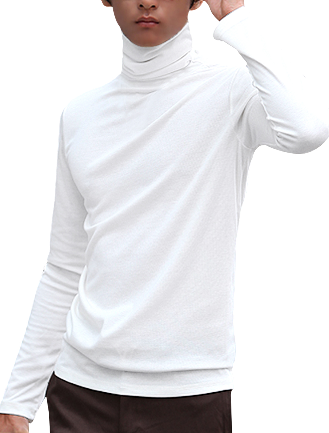 Men White Turtle Neck Long Sleeve Solid Color Stretchy Casual Top Shirt S