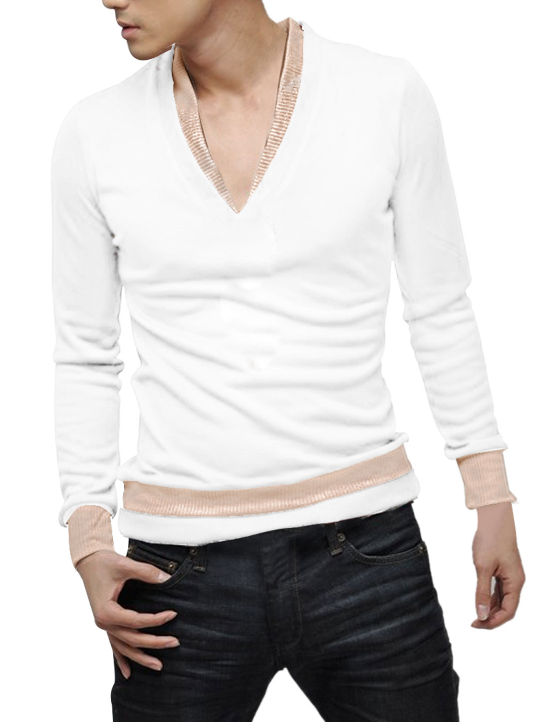 Men White V Neckline Long Sleeve Simple Style Stretch Ribbing Hem Slim Top Shirt XS