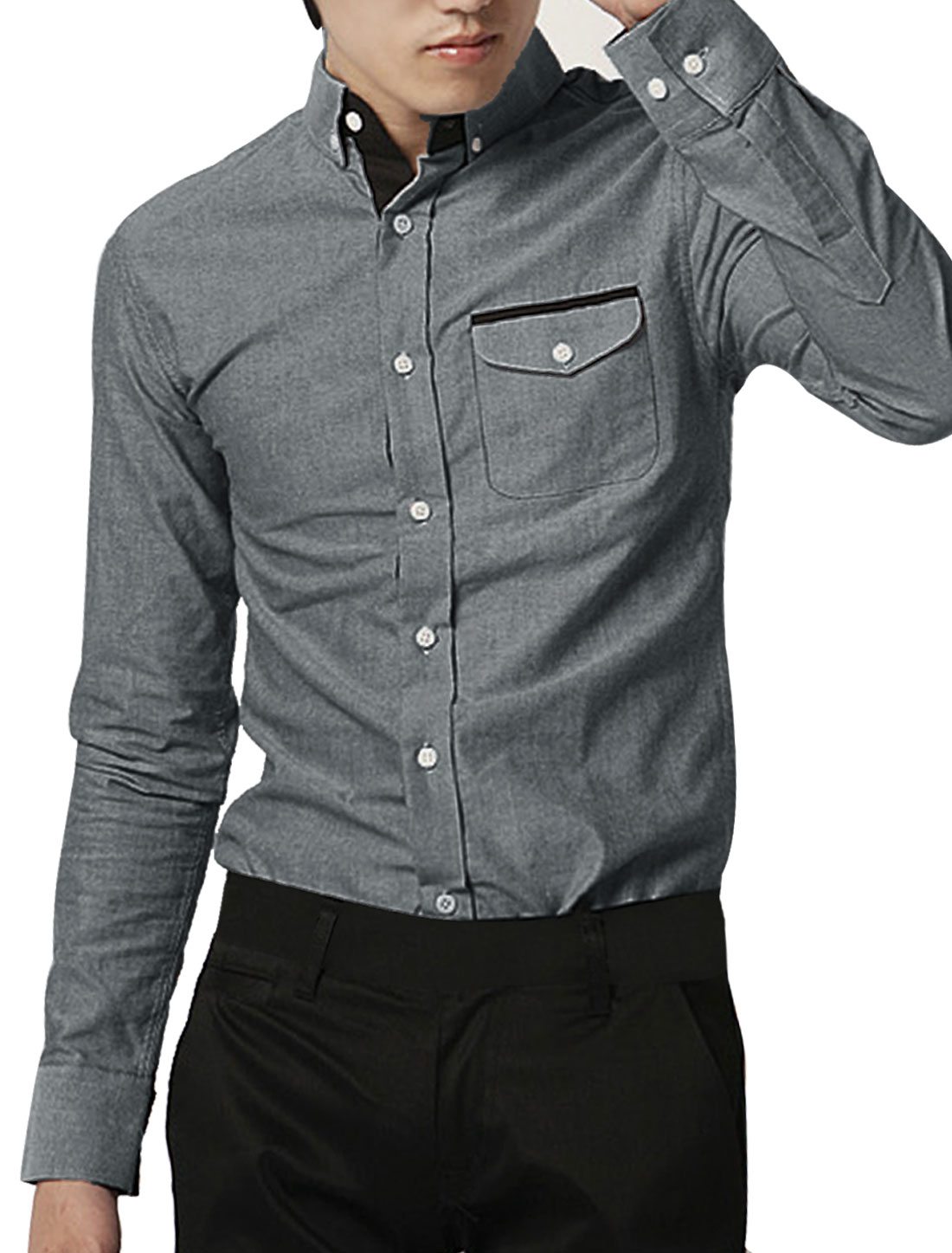 Mens One Pocket Button Down Point Collar Long Sleeve Dark Gray Shirt Top M