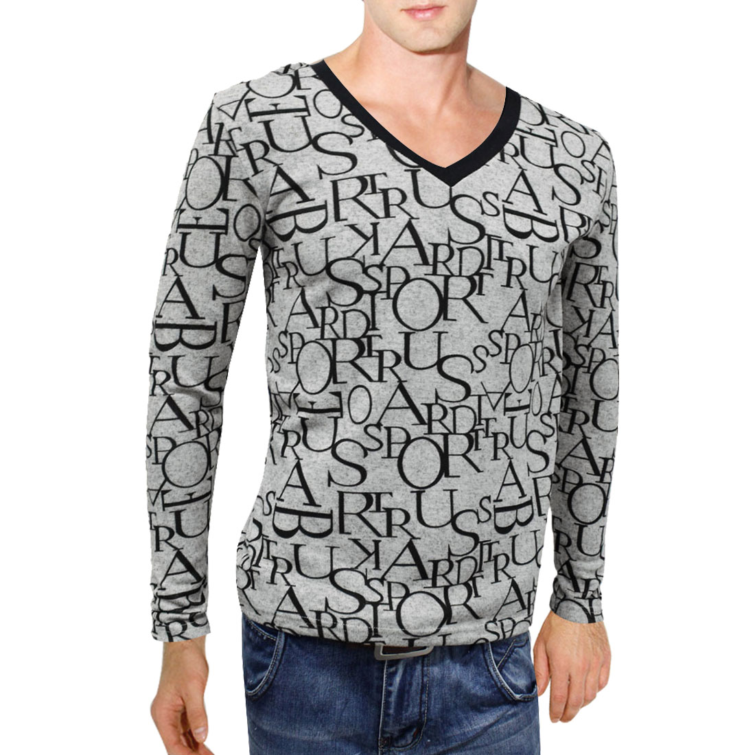 Man NEW Letter Printed V Neck Stretchy Long Sleeve Black Gray Tops S