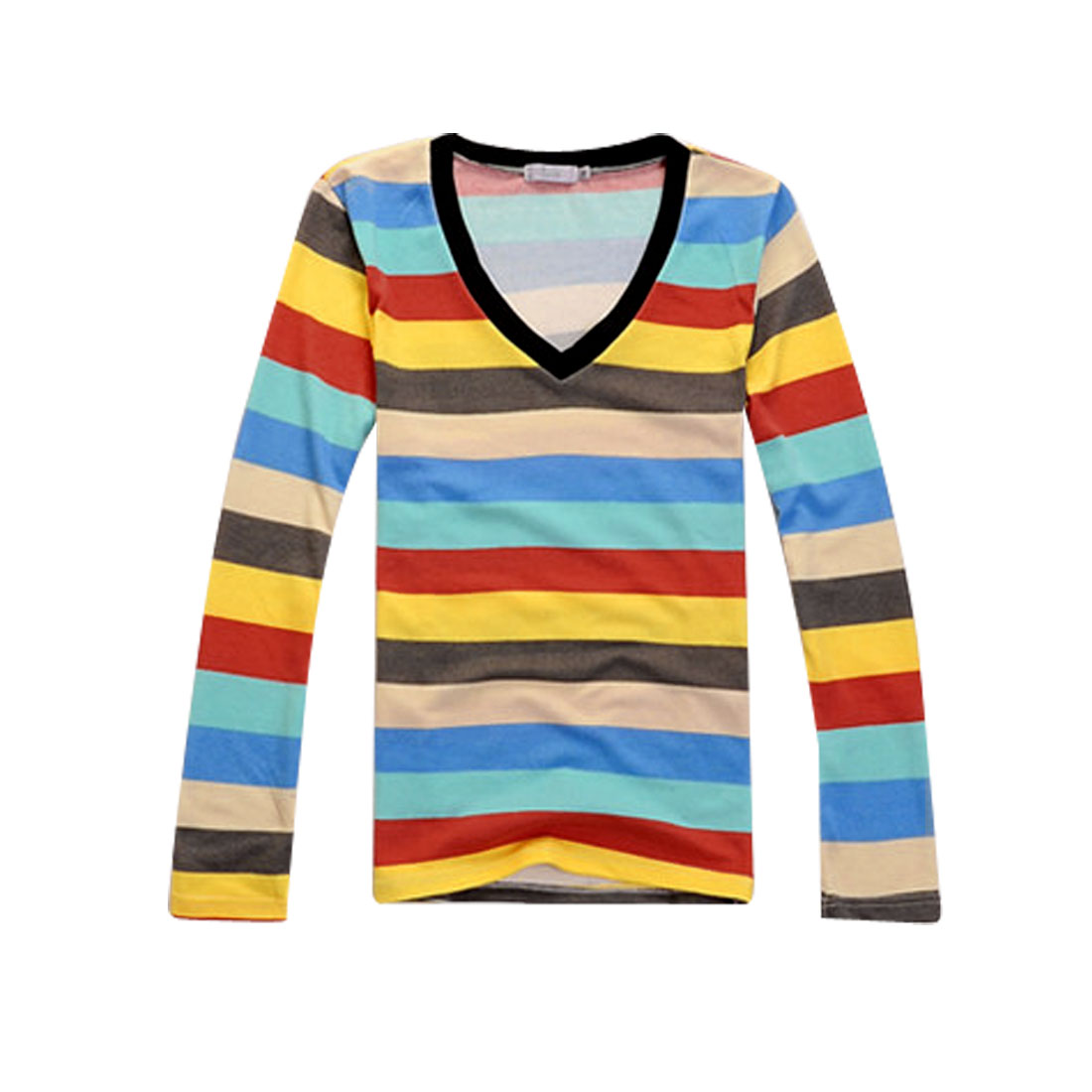 NEW Multi Color Stripes V Neck Pullover Long Sleeve Shirt Tops For Men S