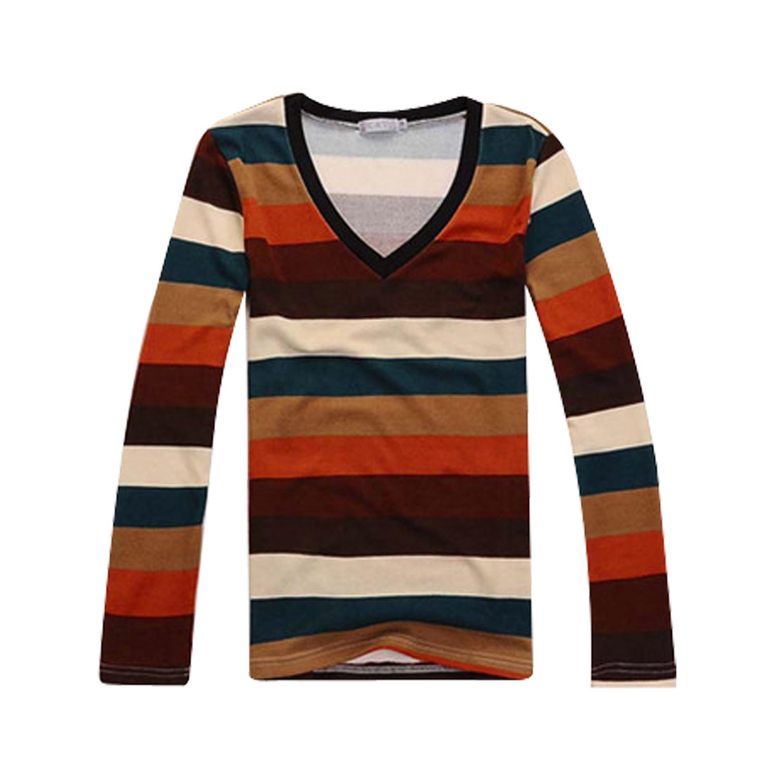 Mens Five Tones Stripes Long Sleeve V Neck Pullover Stretchy Shirt Top S
