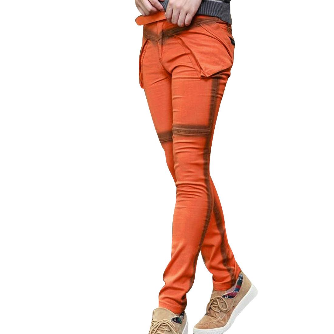 New Fading Orange Slant Pocket Zip Hip Pocket Slim Trousers For Men W30