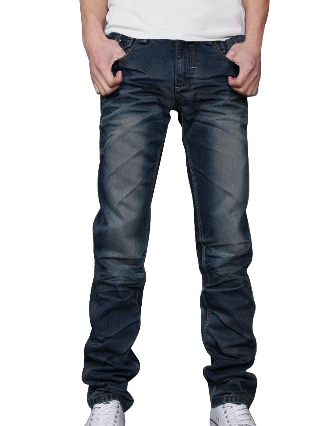 Mens Zip Up One Button Slant Pocket Hip Pocket Dark Blue Faded Jean Pants W36