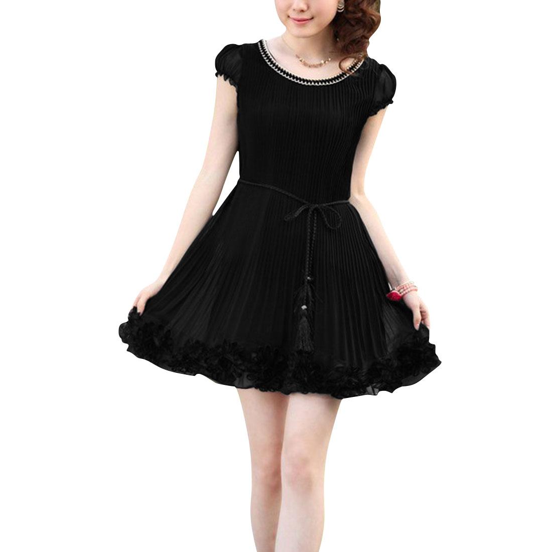 Elegant Ladies Self Tie String Stretchy Puff Sleeve Modern Dress Black XS