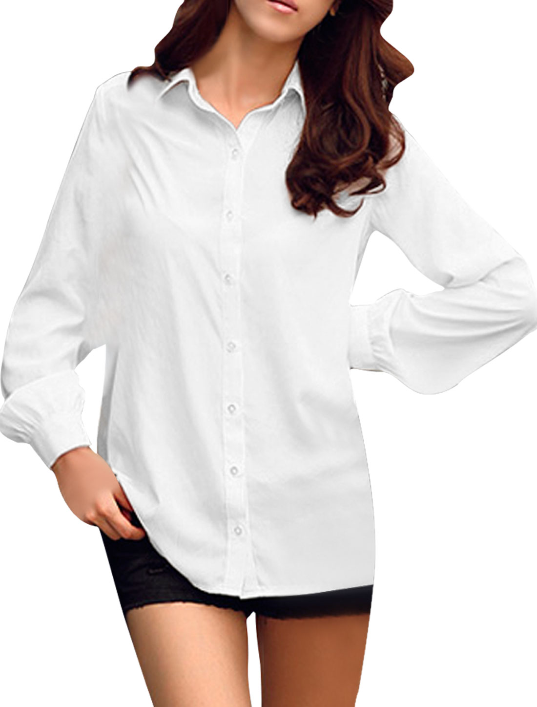 Ladies White Single Breasted Round Hem Spring Trendy Blouse XS