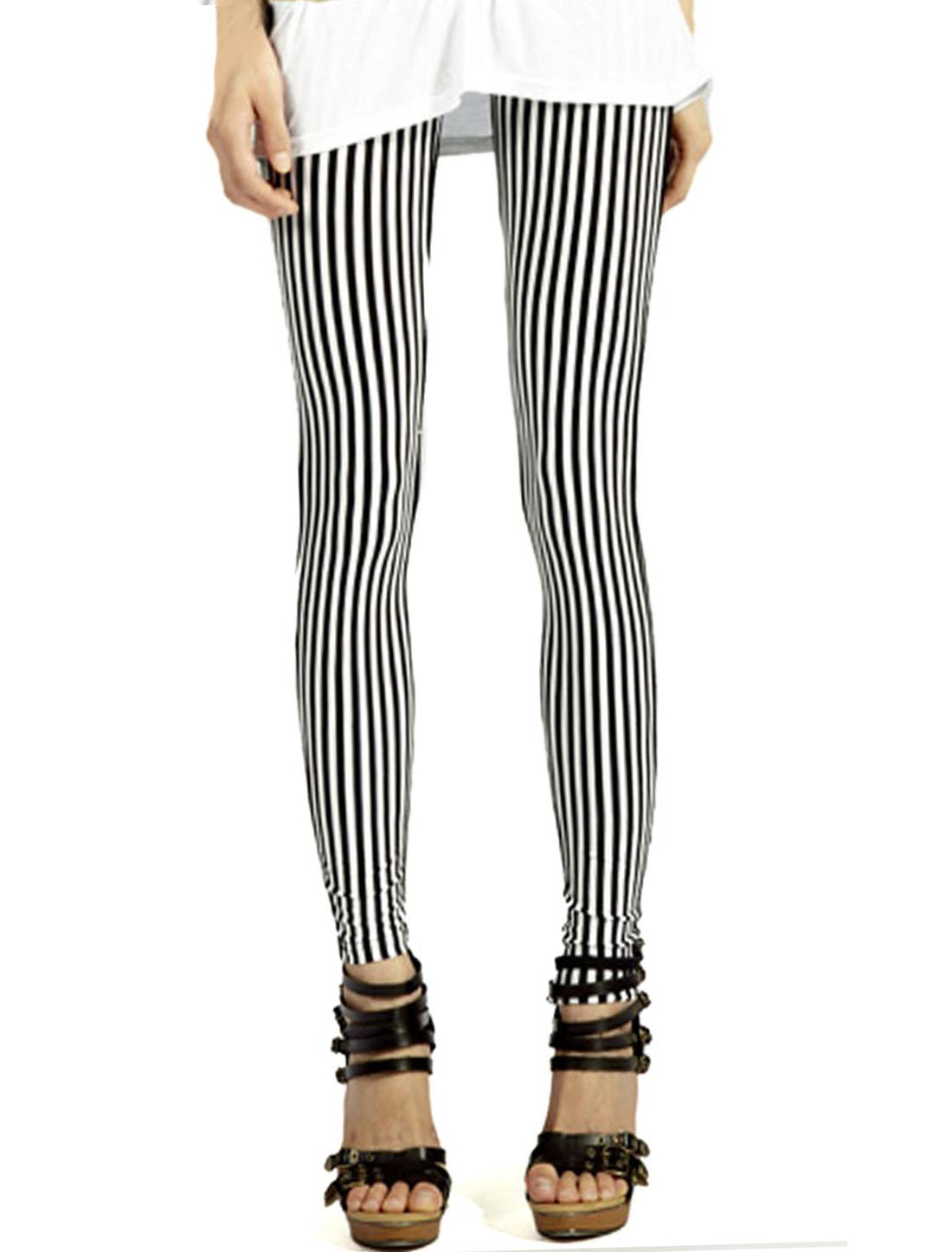 Ladies Stretchy Waist Stripes Full Length Fashion Leggings Black White XS