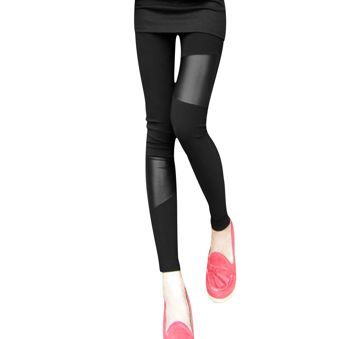 Ladies Faux Leather Panel Stretch Waist Fitted Fashion Leggings Black XS