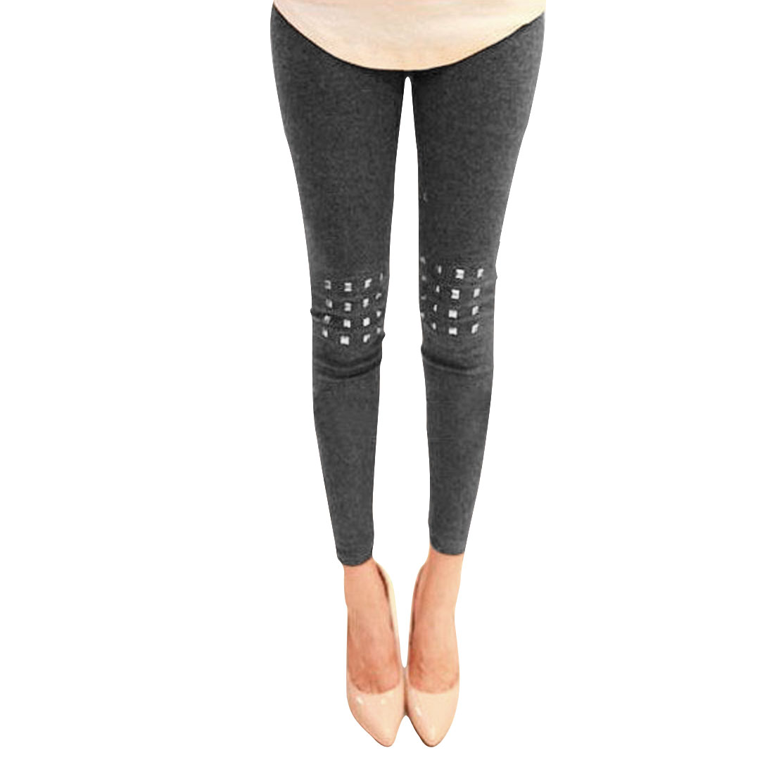 Ladies Dark Gray Elastic Waist Stretchy Metallic Decor Leggings XS