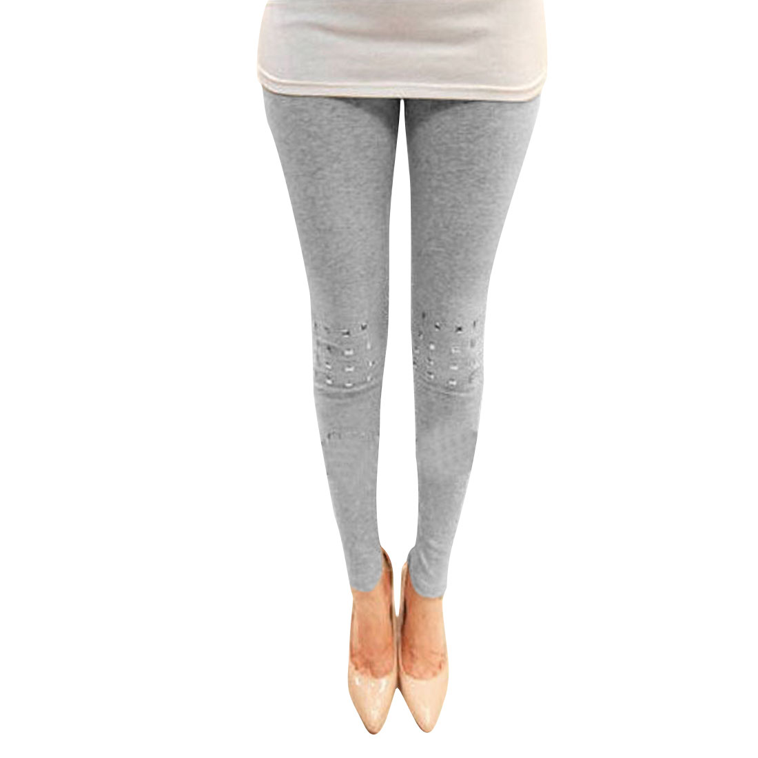 Ladies Light Gray Elastic Waist Metallic Decor Pencil Leggings XS