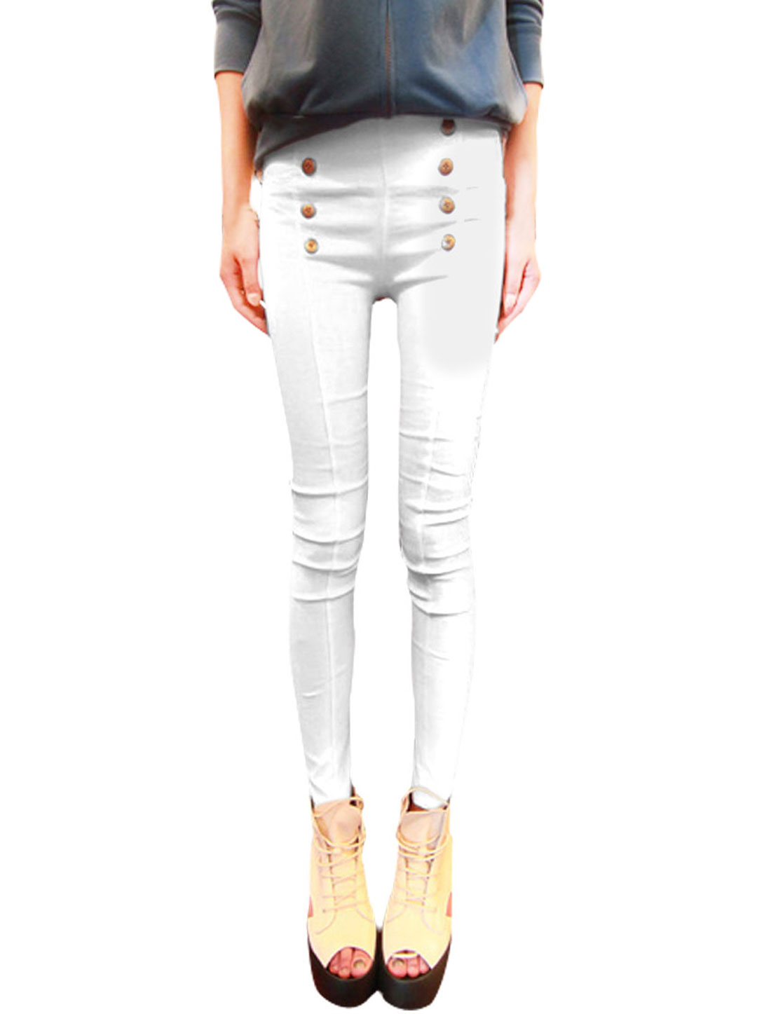 Lady White Eight Buttons Decor Solid Color Form-fitting Skinny Pants Trousers XS