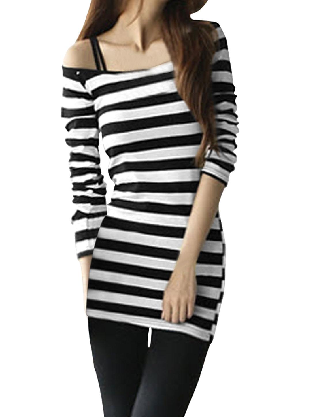 Ladies White Black Stripes Print Stretchy Pullover Tunic Shirt XS