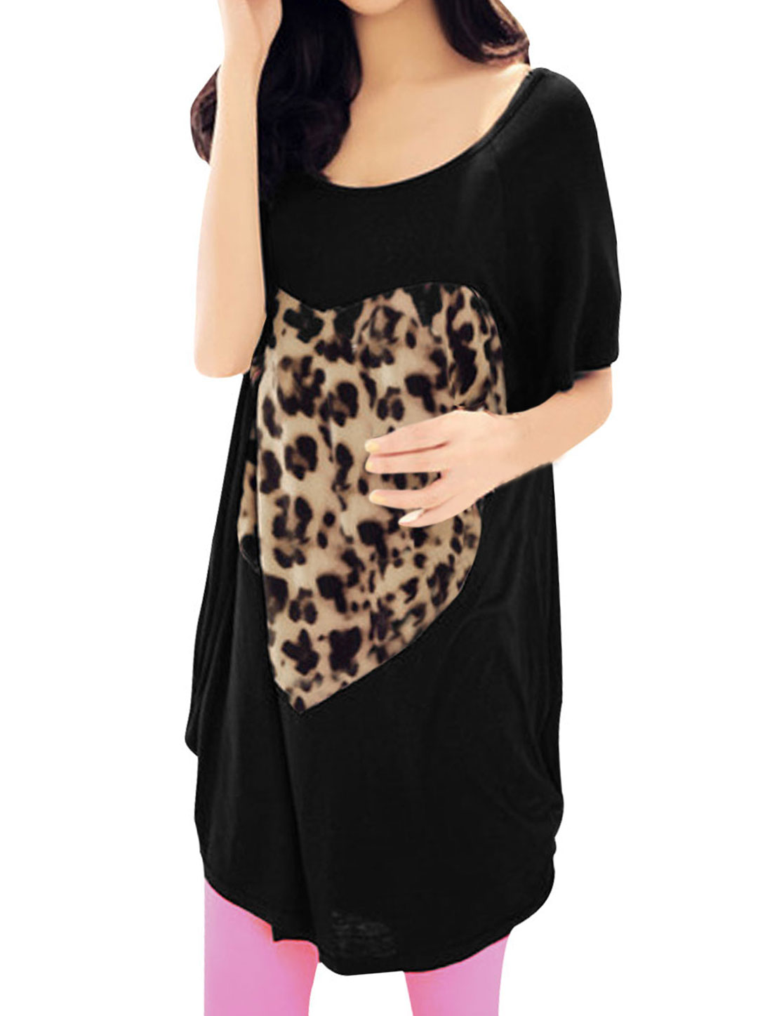 Ladies Black Leopard Print Patch Casual Summer Short Sleeves Shirt S