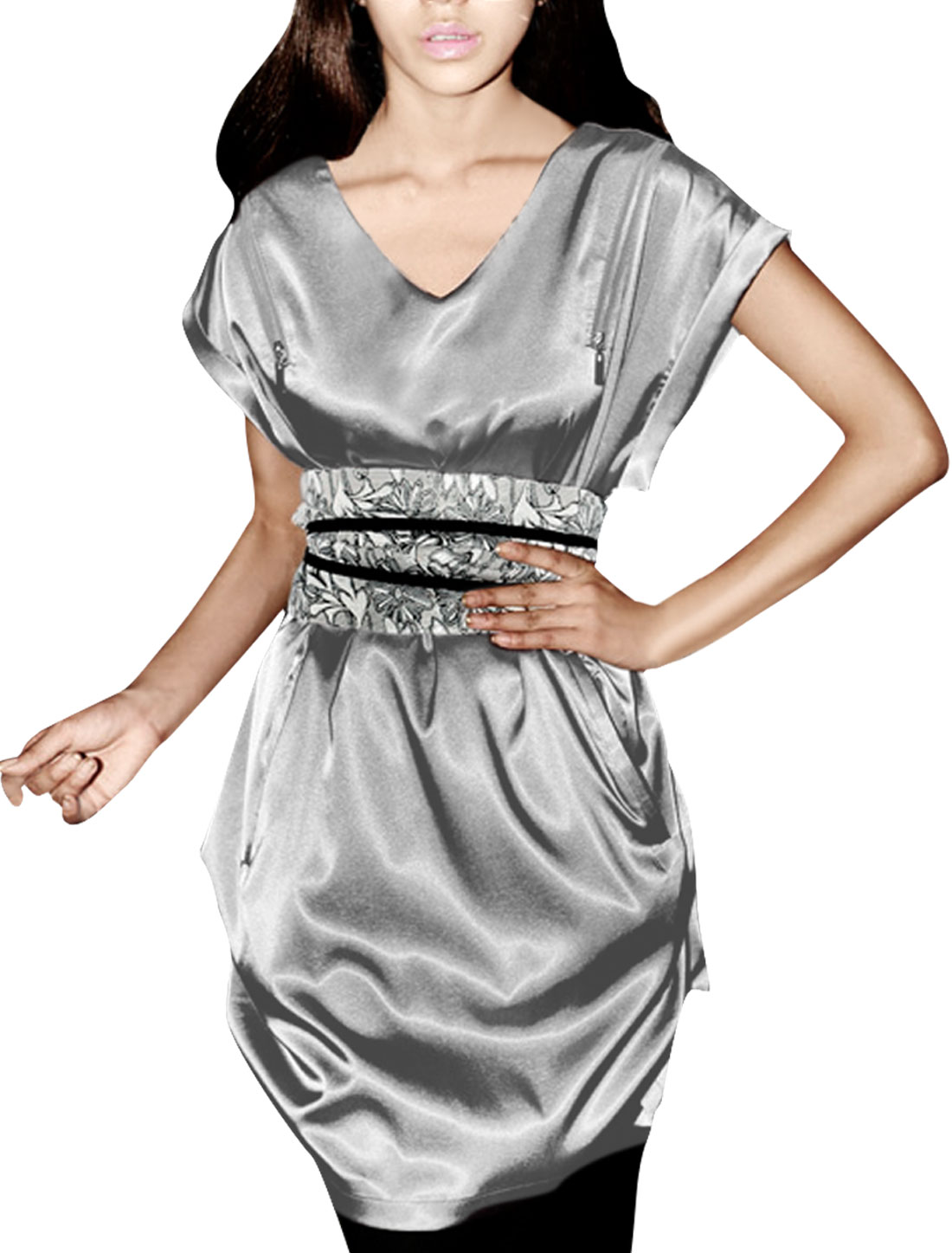 Ladies Silver Gray Short Sleeves Zip Closure Back With Waist Belt Dress S