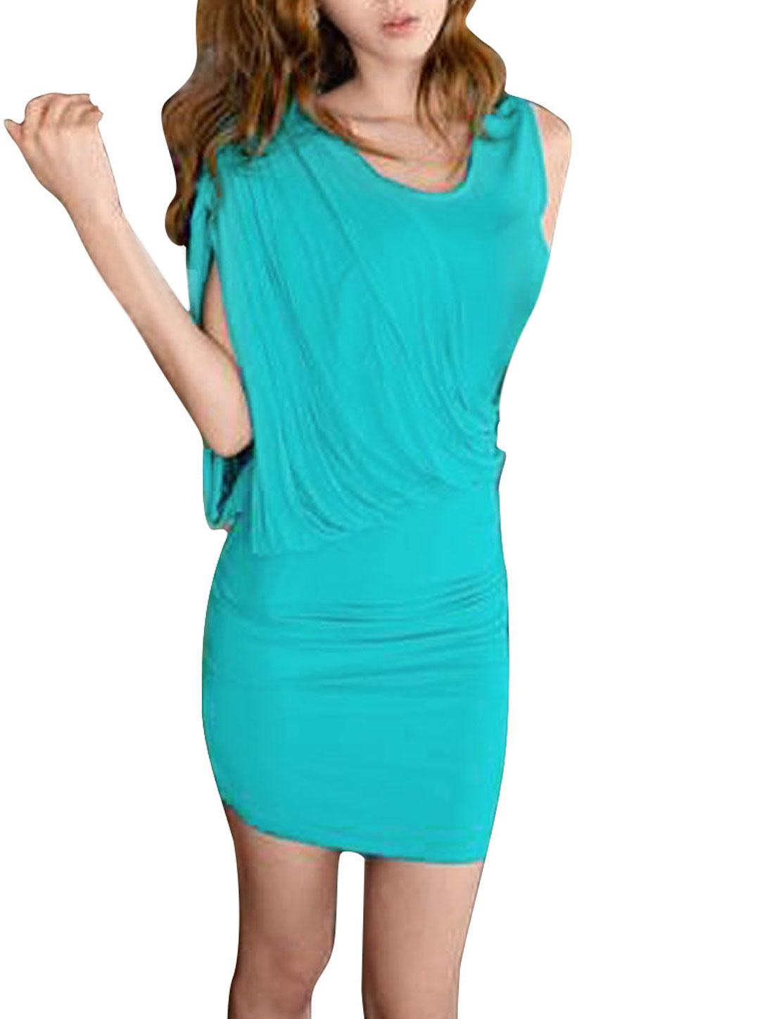 Ladies Light Blue Elastic Gathered Detail Asymmetric Mini Dress XS