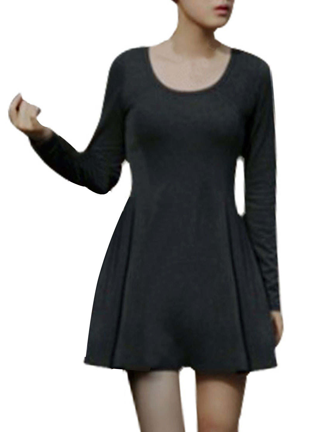 Lady Gray Scoop Neck Long Sleeve Form-fitting Ribbing Design Mini Dress XS