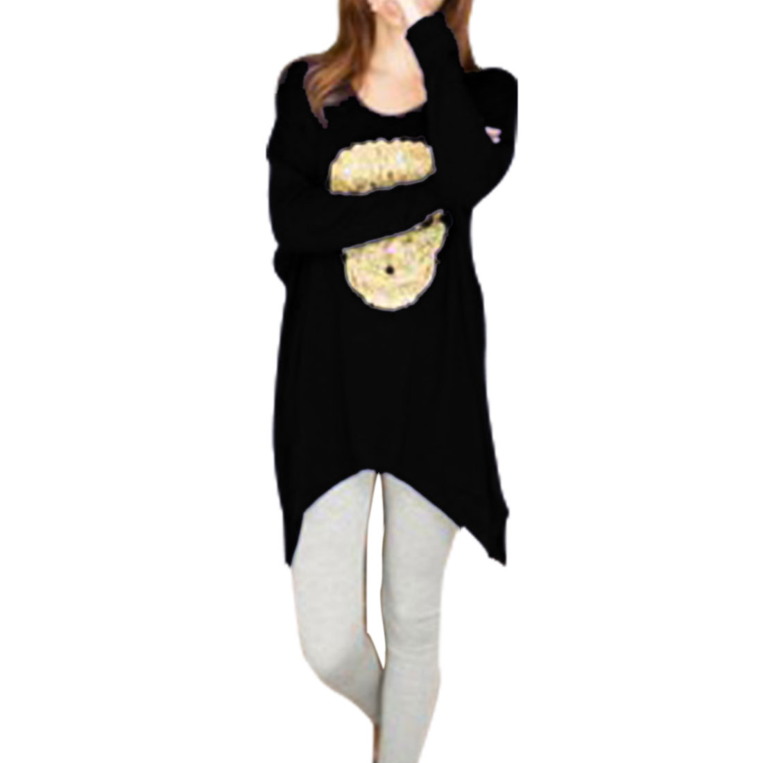 Women Black Irregular Hem Embellished Skull Design Stretch Tunic Shirt S