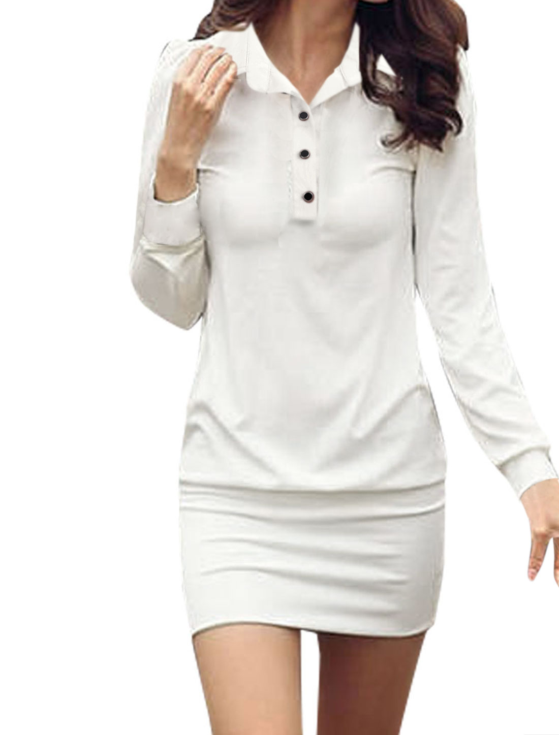 Lady White Point Collar Long Sleeve Stretchy Pullover Design Form-fitting Mini Dress M