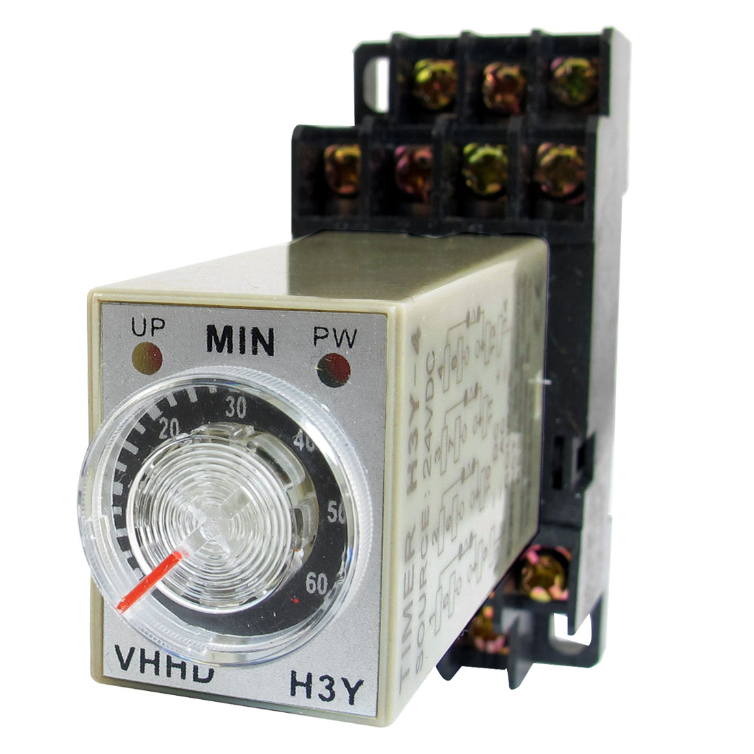 DC 24V 0-60 Minute 60m Timer Power On Delay Time Relay 14 Pin H3Y-4 + Socket
