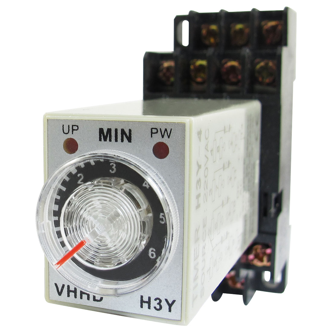 AC 220V 6Min 0-6 Minute Delay Timer Time Relay H3Y-4 w 14 Pin DIN Rail Socket