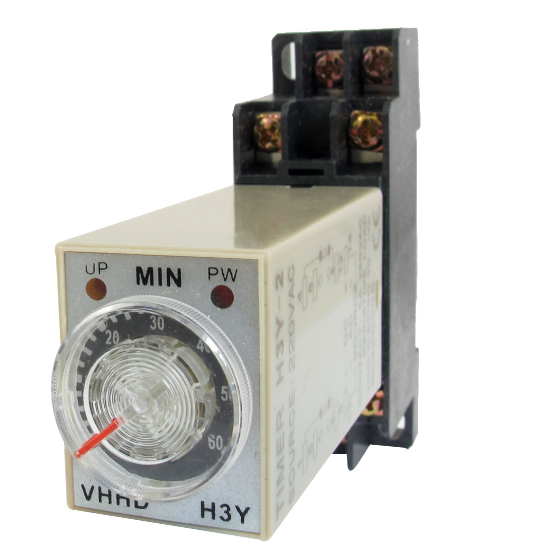 AC 220V 60Min 0-60 Minute Delay Timer Time Relay H3Y-2 + 8 Pin DIN Rail Socket